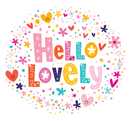 hello heart: Hello lovely flowers and hearts card Illustration