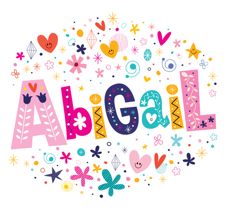 bible background: Abigail girls name decorative lettering type design