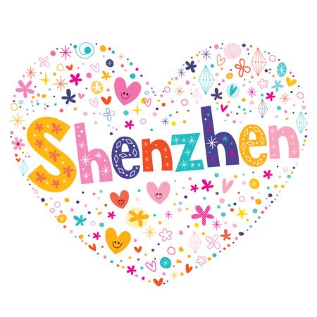 type lettering: Shenzhen heart shaped type lettering vector design Illustration