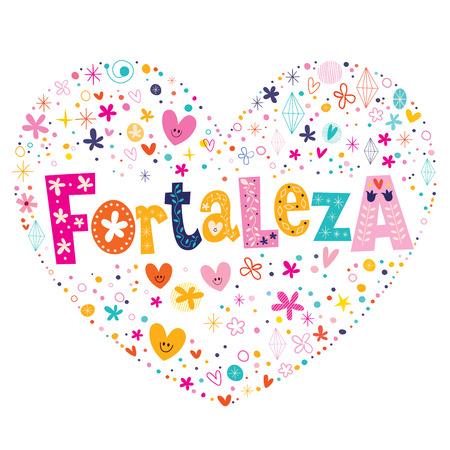 type lettering: Fortaleza Brazil heart shaped type lettering vector design