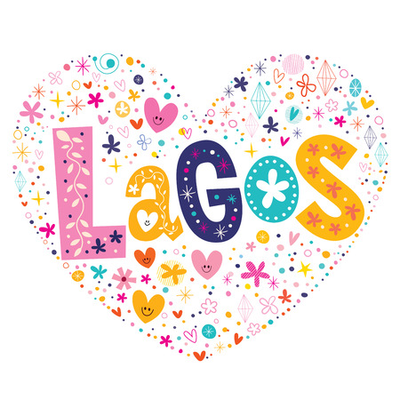 Lagos: Lagos heart shaped type lettering vector design