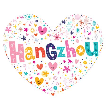 type lettering: Hangzhou heart shaped type lettering vector design Illustration