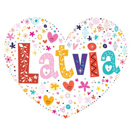 type lettering: Latvia heart shaped type lettering vector design