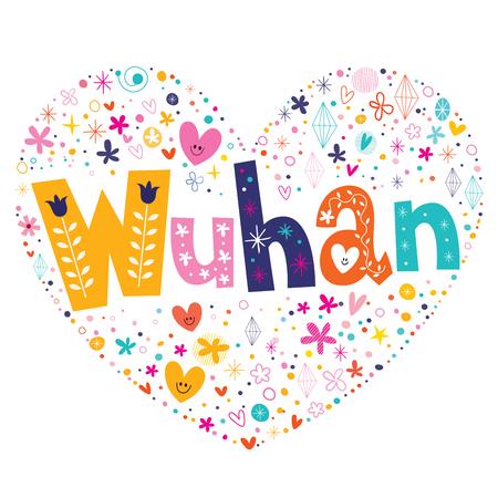 type lettering: Wuhan heart shaped type lettering vector design Illustration