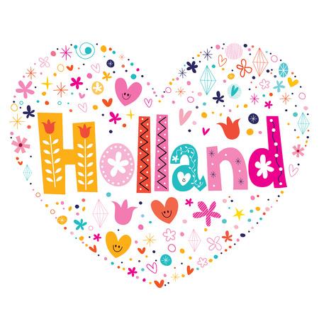 type lettering: Holland heart shaped type lettering vector design Illustration