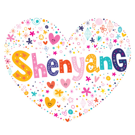type lettering: Shenyang heart shaped type lettering vector design