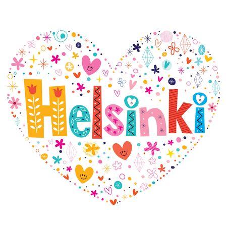 type lettering: Helsinki heart shaped type lettering vector design