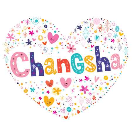 type lettering: Changsha heart shaped type lettering vector design