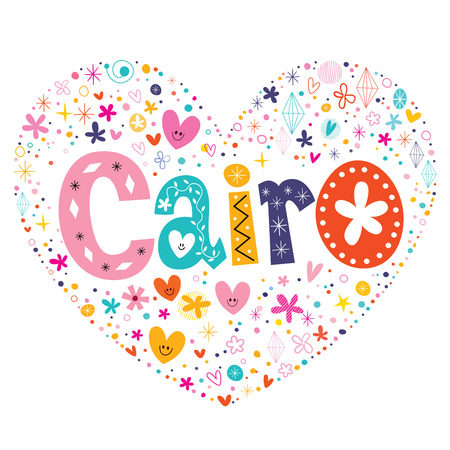 cairo: Cairo heart shaped type lettering vector design