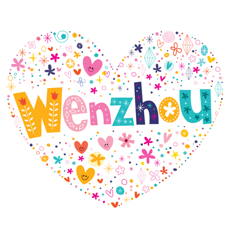 Wenzhou heart shaped type lettering vector design 矢量图像