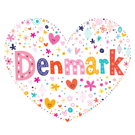 type lettering: Denmark heart shaped type lettering vector design