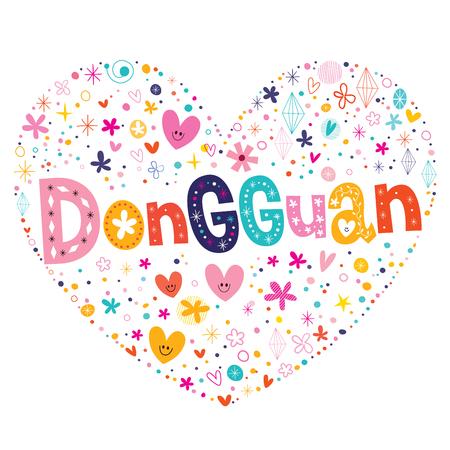 type lettering: Dongguan heart shaped type lettering vector design Illustration