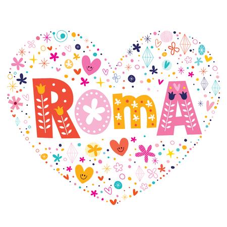 roma: Roma heart shaped type lettering vector design