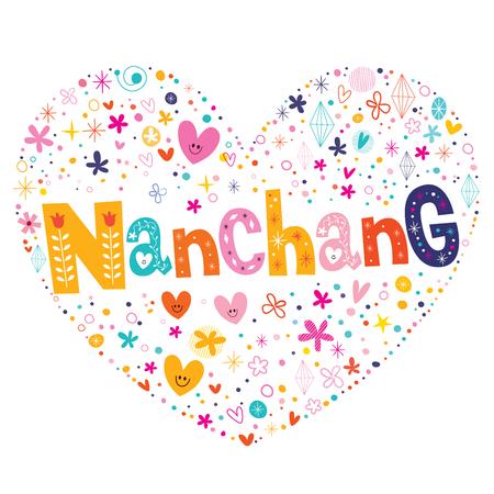 southeastern asia: Nanchang heart shaped type lettering vector design