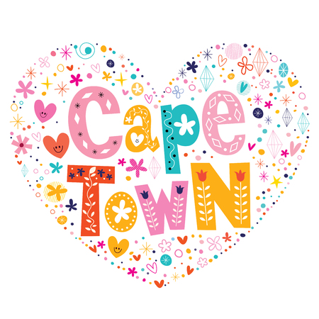 cape town: Cape Town heart shaped type lettering vector design
