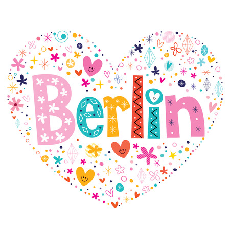 Berlin heart shaped type lettering vector design