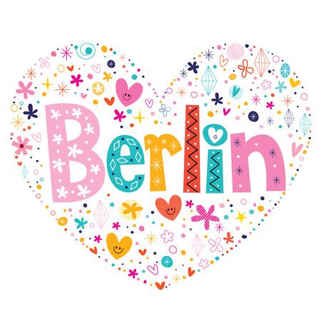sensation: Berlin heart shaped type lettering vector design