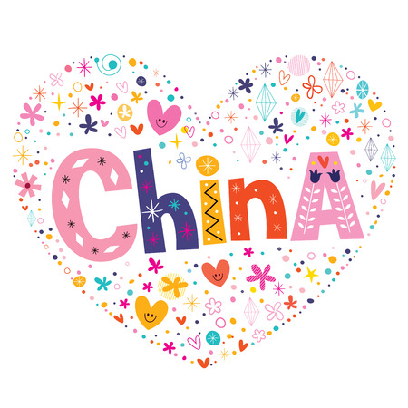 country flowers: China heart shaped type lettering vector design