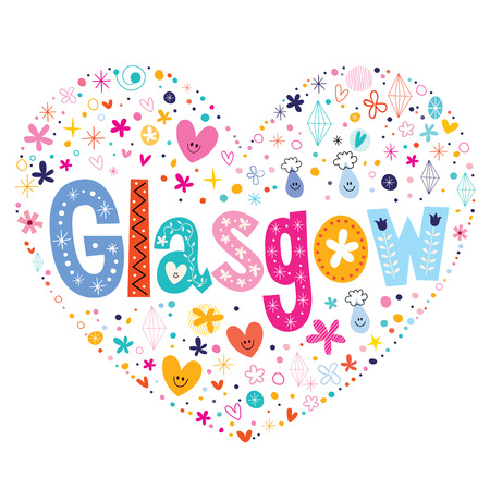 country flowers: Glasgow heart shaped type lettering vector design Illustration