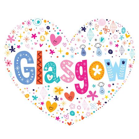 glasgow: Glasgow heart shaped type lettering vector design Illustration