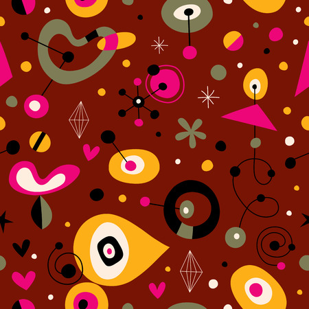 sixties: Funky retro style fifties sixties abstract art seamless pattern