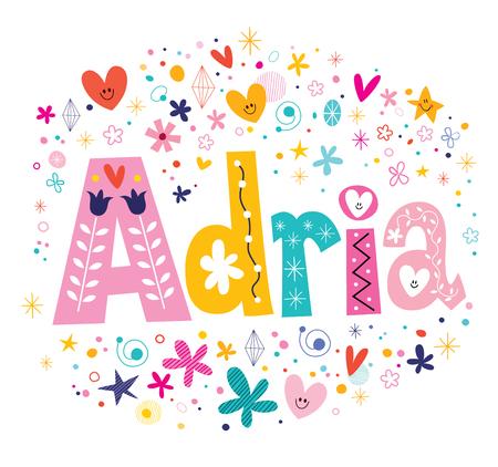아드리아 소녀 이름 장식 문자 유형 디자인