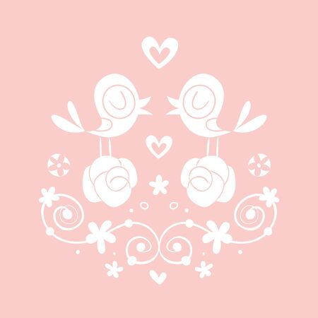 vignette: love birds and flowers vignette Illustration