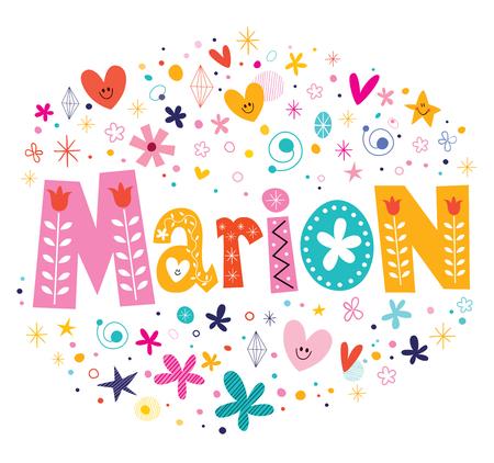 marion: Marion girls name decorative lettering type design Illustration