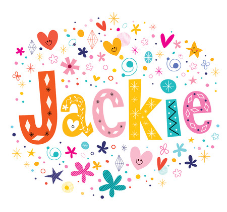 Jackie girls name decorative lettering type design Vettoriali