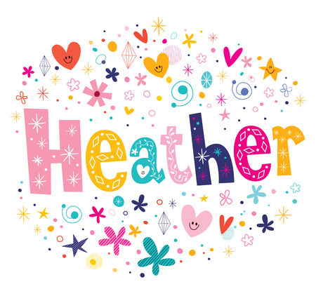 Heather girls name decorative lettering type design