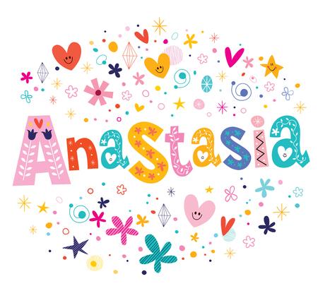 Anastasia-meisjes noemen een decoratief lettertype-ontwerp Stock Illustratie