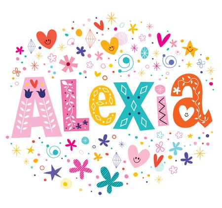 decorative design: Alexia girls name decorative lettering type design