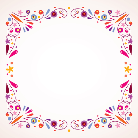 花のフレームの枠線  イラスト・ベクター素材