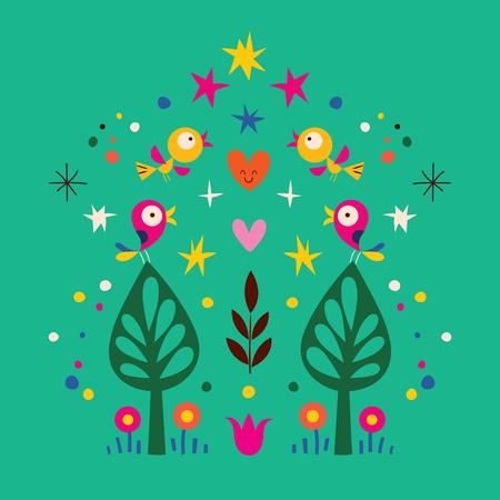 armonia: pájaros, árboles ilustración de la naturaleza