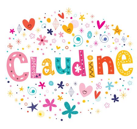 Claudine girls name decorative lettering type design