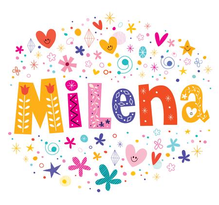 republic of colombia: Milena girls name decorative lettering type design Illustration