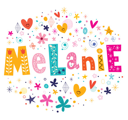 Melanie girls name decorative lettering type design
