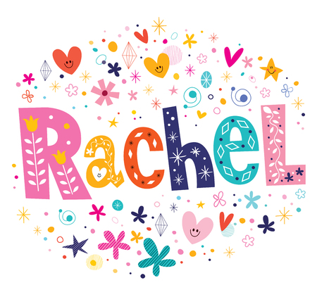 Rachel girls name decorative lettering type design