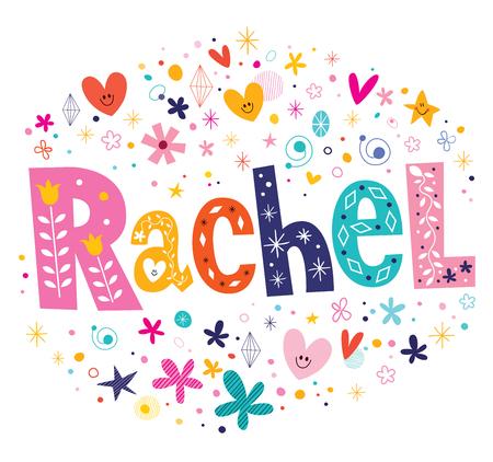 Rachel meisjesnaam decoratieve type belettering ontwerp