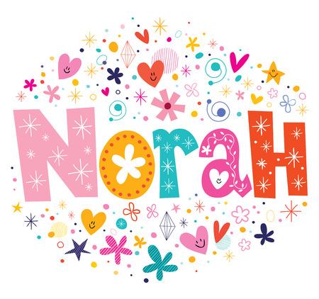 Norah nombre del diseño hembra de letras decorativas