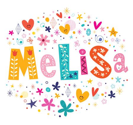 Melisa girls name decorative lettering type design