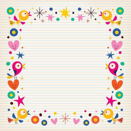 lined: birds hearts happy border on lined paper background