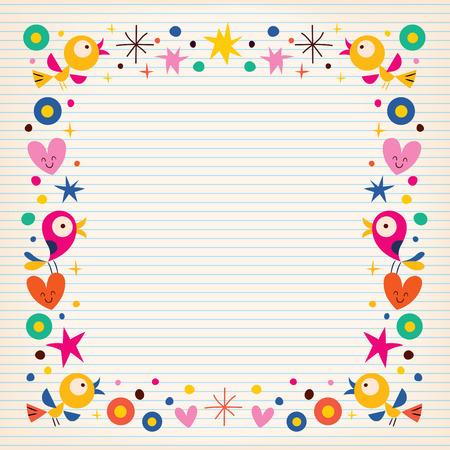 vogels harten gelukkig grens op gelinieerd papier achtergrond