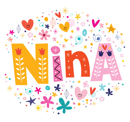 nina: Nina girls name decorative lettering type design Illustration