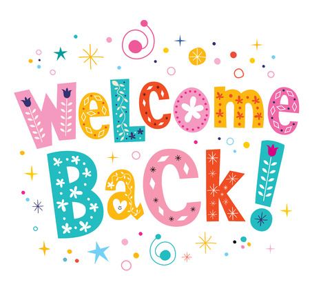 welcome back decorative lettering text