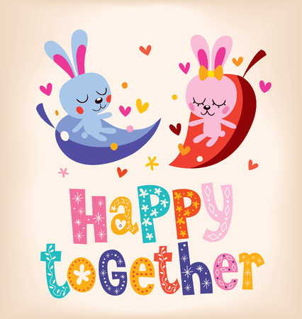 loving: happy together cute bunnies in love Illustration