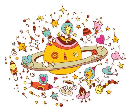 Cartoon Saturn mit einer Gruppe von Charakteren Raum Kosmos Illustration Vektorgrafik