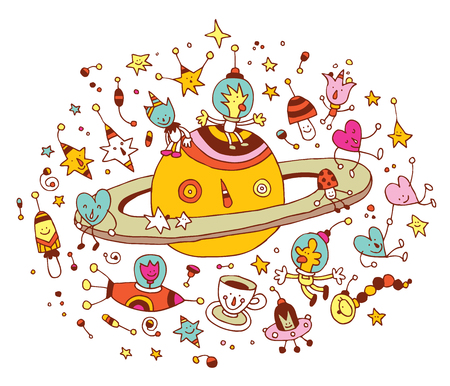 heart intelligence: Cartoon Saturn with group of characters space cosmos illustration