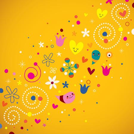 armonia: Naturaleza del amor de la armonía ilustración del vector arte retro Vectores