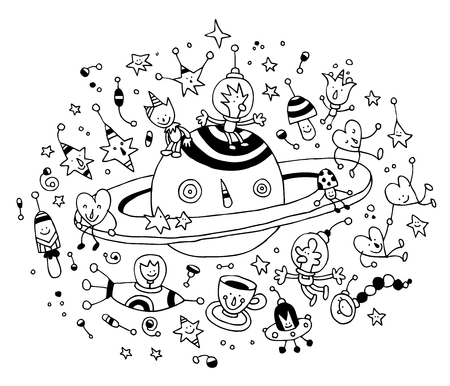 sf: Saturn cartoon characters space cosmos illustration Illustration